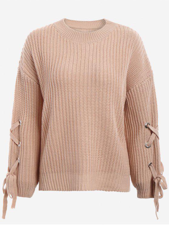 unique Drop Shoulder Lace Up Sweater - KHAKI ONE SIZE