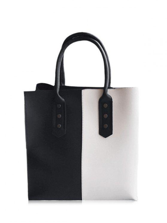 Metal embelleció la bolsa de asas de dos tonos - Negro Blanco