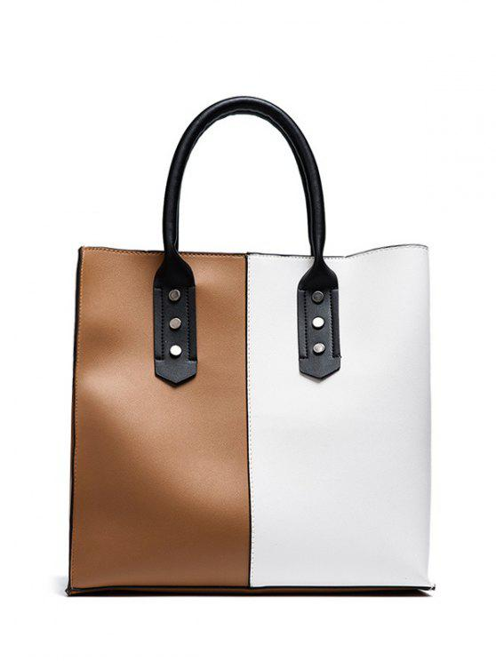 women Metal Embellished Two Tone Tote Bag - WHITE AND BROWN