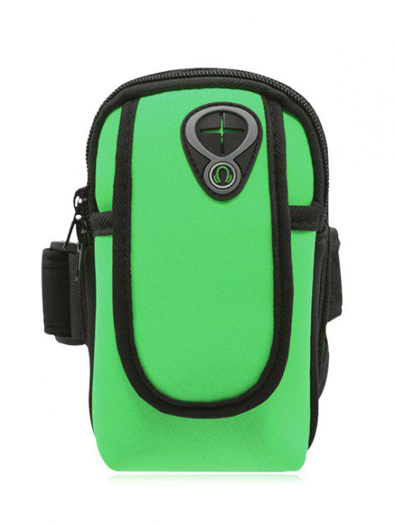 affordable Polyester Colour Block Running Arm Bag - GREEN