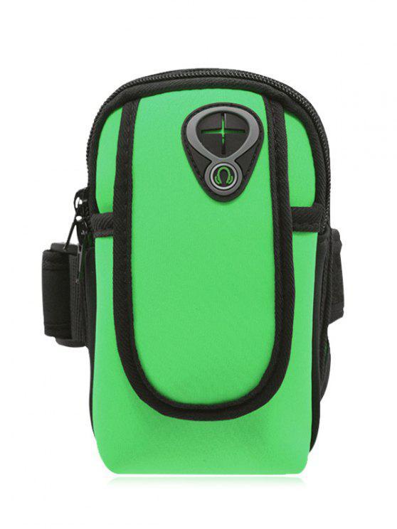Poliéster bloque de color corriendo brazo bolsa - Verde