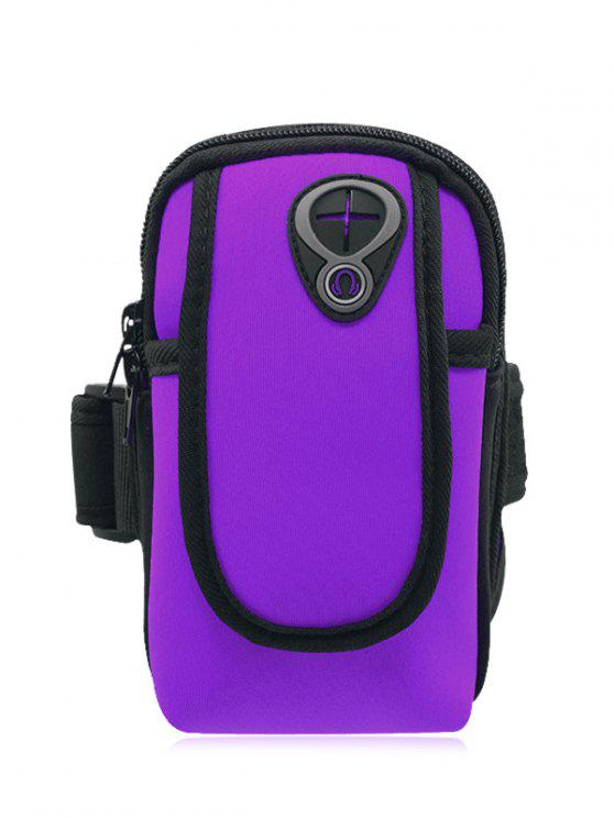 Poliéster bloque de color corriendo brazo bolsa - Púrpura