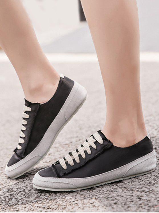 Suede Insert Satin Sneakers - Black 40