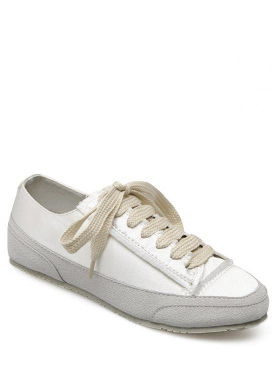 fancy Suede Insert Satin Sneakers - WHITE 40