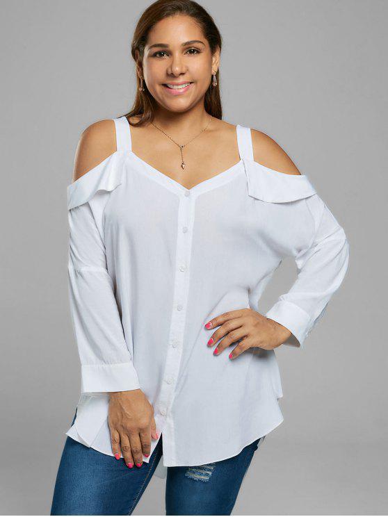 Il formato più misura sopra la camicetta fredda della spalla - Bianco XL
