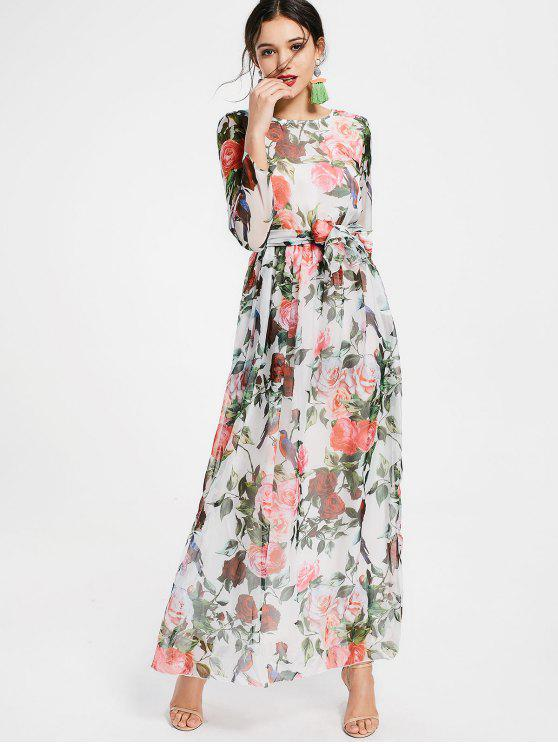 women's Floral Print Long Sleeve Belted Maxi Dress - WHITE L