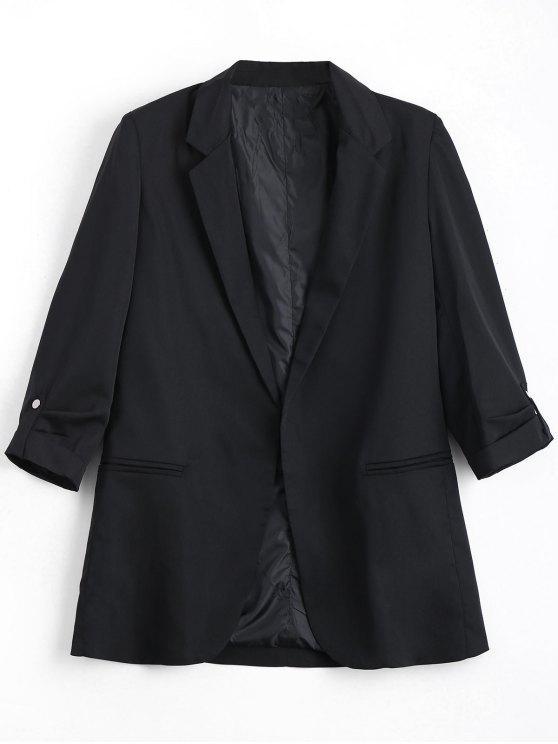 womens Invisible Pockets Lapel Blazer - BLACK L