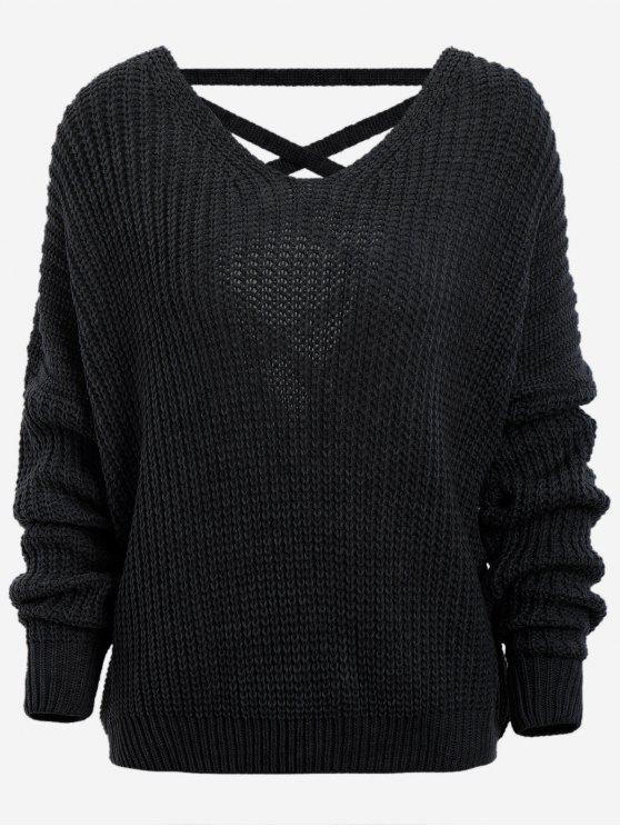 outfit Back Lace Up Drop Shoulder Sweater - BLACK ONE SIZE