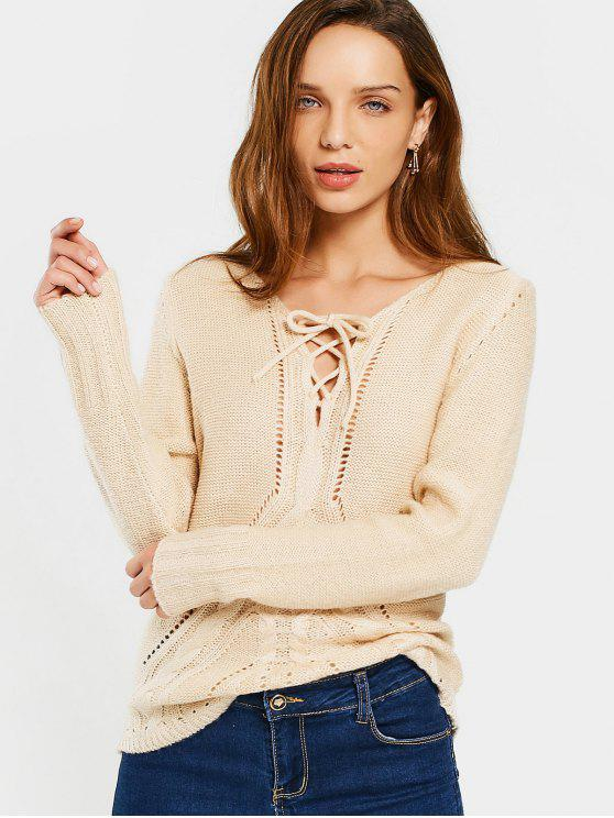 fashion Sheer V Neck Lace Up Sweater - APRICOT M