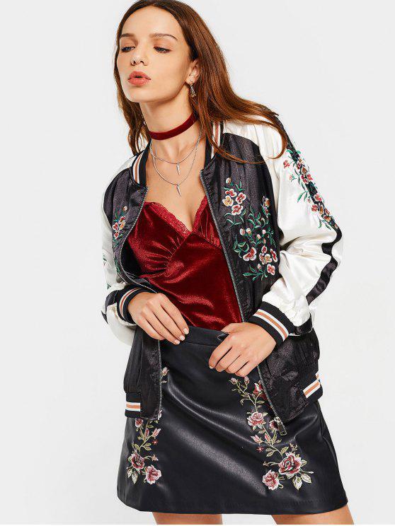 fancy Zippers Floral Embroidered Souvenir Jacket - BLACK L