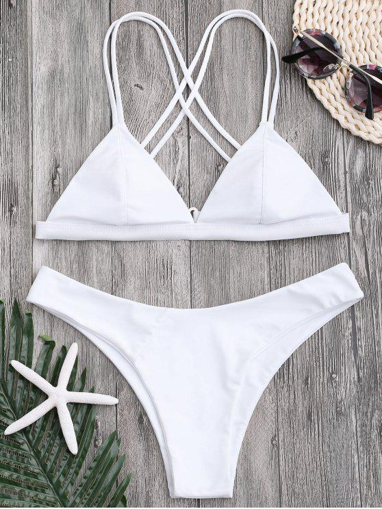 affordable High Cut Cross Back Thong Bikini - WHITE M