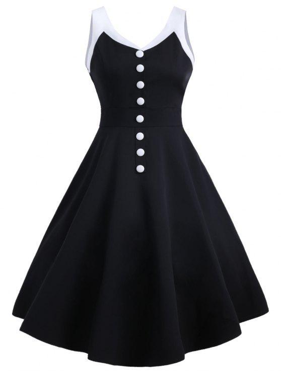فستان كلاسيكي سوينغ - أسود 2XL