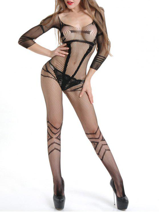 38c0e43ff 13% OFF  2019 Sexy Fishnet Bodystocking With Sleeves In BLACK