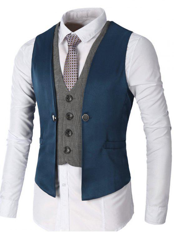 معطف صدرية بأسلوبين بالصدر الواحد - ازرق غامق L