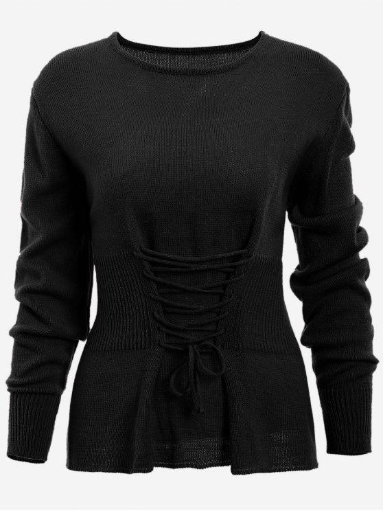 Lace Up suéter de manga larga - Negro Única Talla