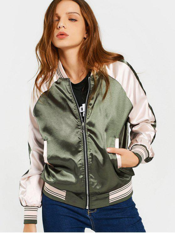 chic Raglan Sleeve Zip Up Baseball Jacket - ARMY GREEN S