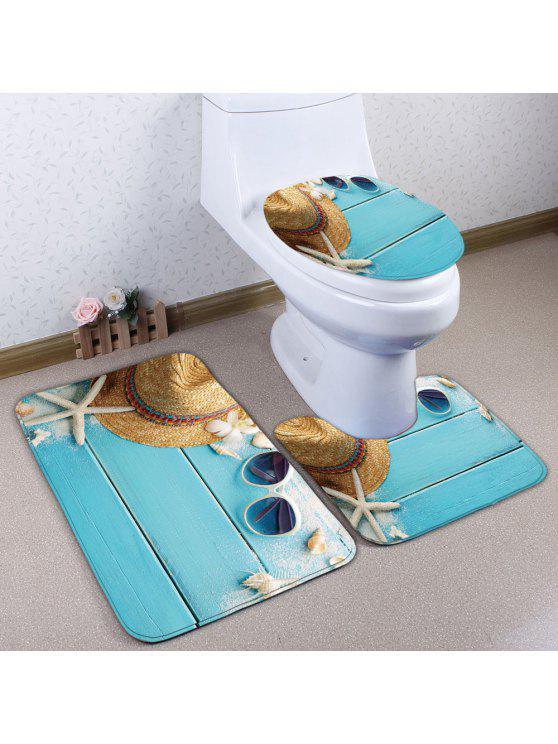 3 قطعة / المجموعة لوح نجم طباعة الفانيلا حمام الحصير المرحاض - غائم