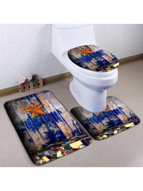 3 قطعة / المجموعة نجم الخشب لوح الطباعة حمام المرحاض حصيرة - الخشب اللون