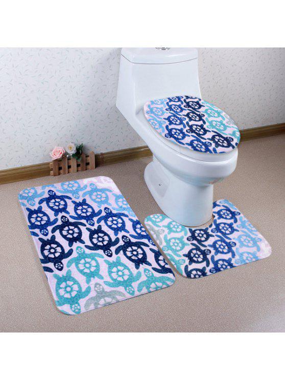 الكرتون السلحفاة نمط 3 قطع المرحاض حصيرة حمام حصيرة - أزرق