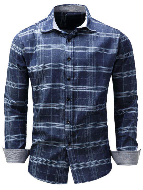 Camisa de Chambray del Tartán del collar de Turndown - Azul M