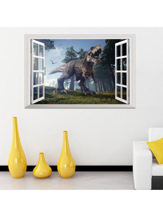 3d نافذة الغابة الديناصور للإزالة جدار الفن ملصق - مزيج ملون 48.5 * 72CM