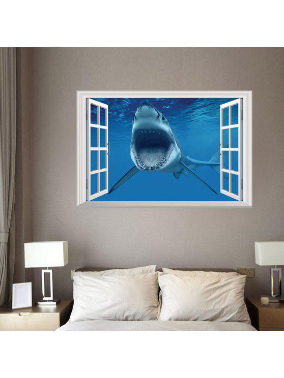 3d القرش نافذة للإزالة جدار الفن ملصق - أزرق 48.5 * 72CM