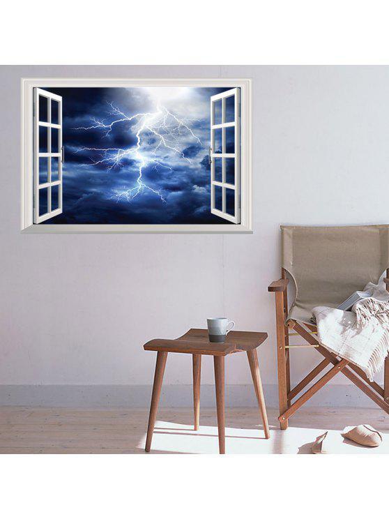 3d نافذة البرق للإزالة جدار الفن ملصق - ازرق غامق 48.5 * 72CM