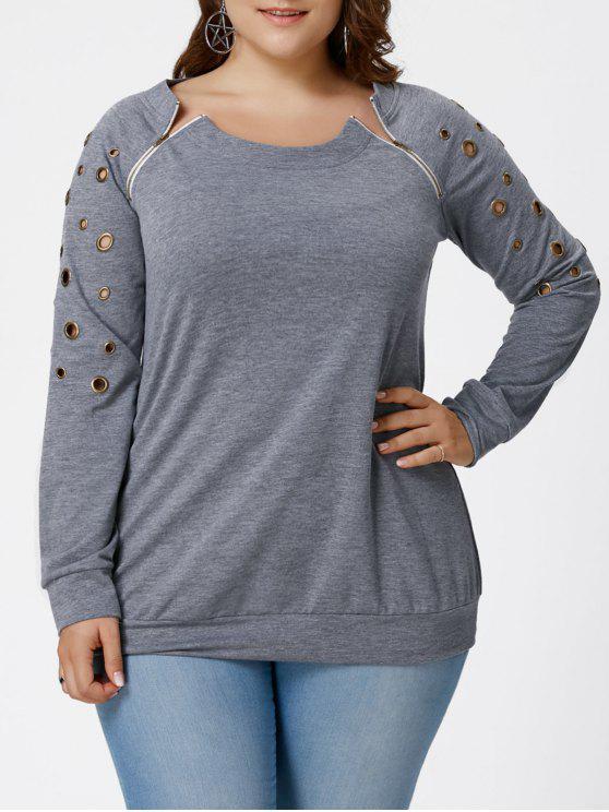 Übergröße Sweatshirt mit Grommet Detail - Grau 2XL