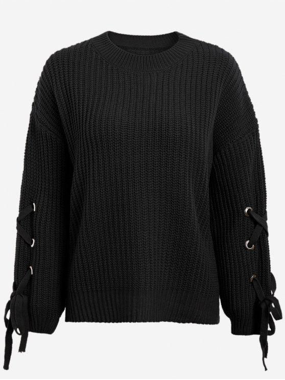 fancy Drop Shoulder Lace Up Sweater - BLACK ONE SIZE