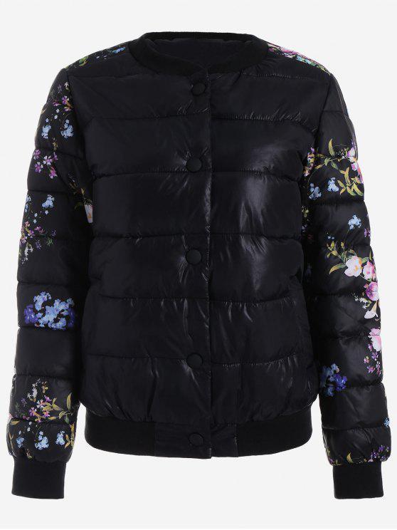 fashion Snap Button Floral Jacket - BLACK M
