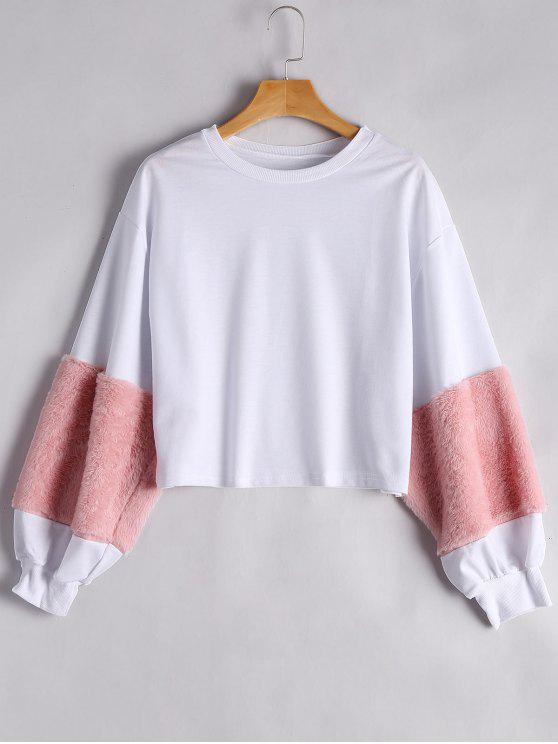 trendy Puff Sleeve Faux Fur Embellished Sweatshirt - PINK S