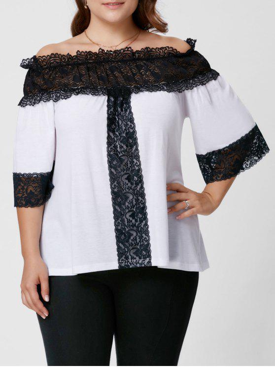 Plus Size Lace Panel aus der Schulter Oberseite - Weiß 5XL