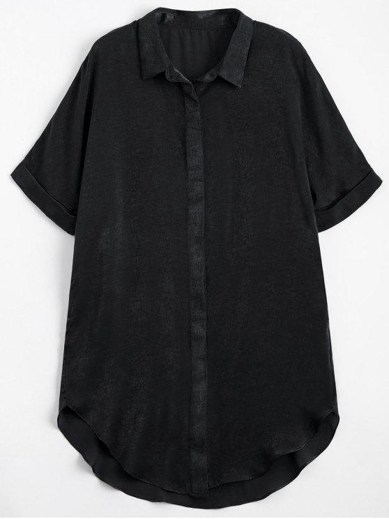 buy Button Up Plain Longline Shirt - BLACK L