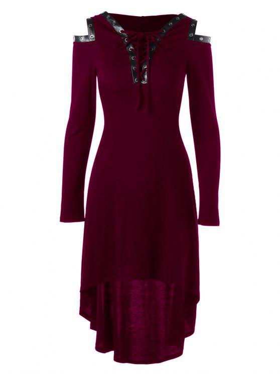 فستان باردة الكتف رباط باردة الكتف - أحمر 2XL