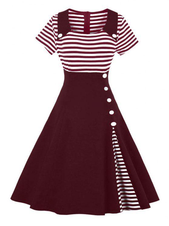 فستان كلاسيكي زر مخطط - نبيذ أحمر M