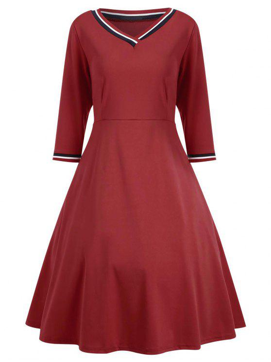 outfit V Neck Three Quarter Sleeve Dress - RED M