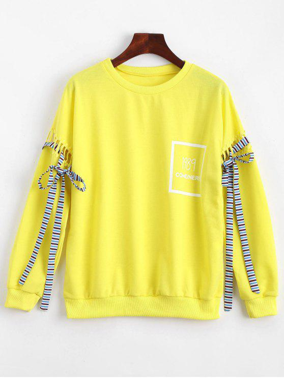 ladies Hollow Out Bowknot Embellished Letter Sweatshirt - YELLOW ONE SIZE