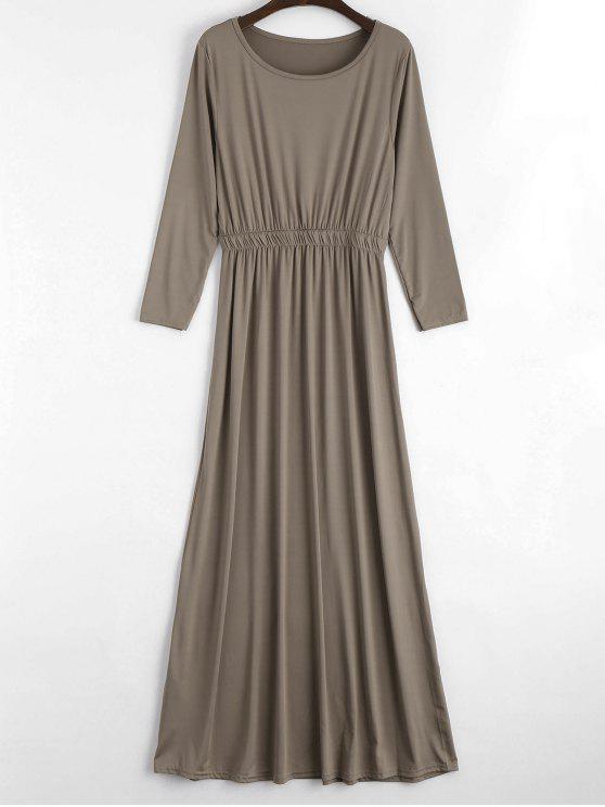 shop Round Collar Long Sleeve Maxi Dress - KHAKI S