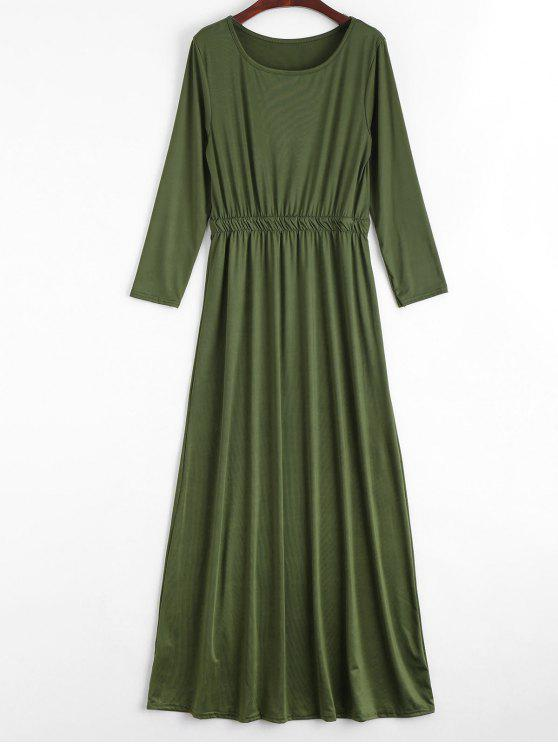 فستان ماكسي طويلة الأأكمام دائرة الرقبة - الجيش الأخضر M