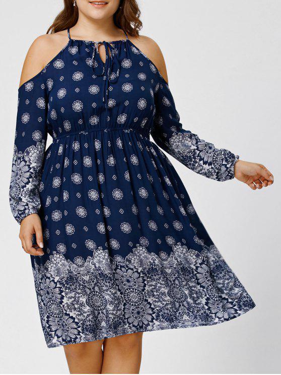 Plus Size Dew Shoulder Floral Bohemian Dress