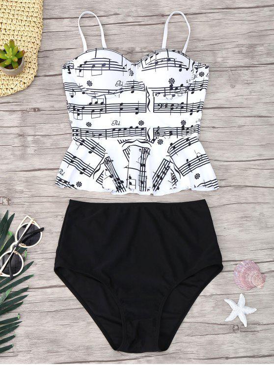 online Musical Notes Print Peplum Tankini Set - WHITE AND BLACK L