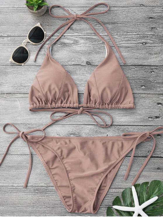 lady Adjustable Self Tie String Bikini Set - PALE PINKISH GREY M