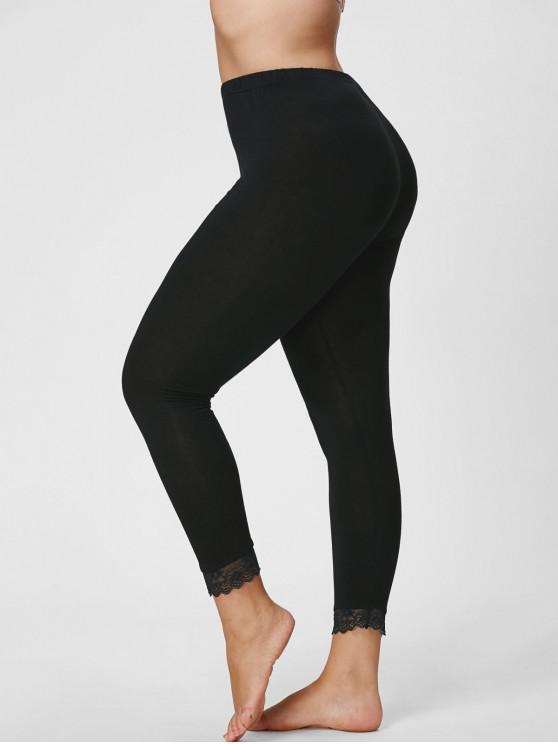 women Plus Size Lace Hem Capri Leggings - BLACK 4XL