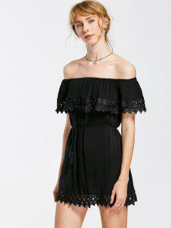 Off Shoulder Lace Panel Flounce Belted Dress - Black M
