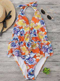 Ruffles Plunge Backless High Cut Swimwear - Floral S
