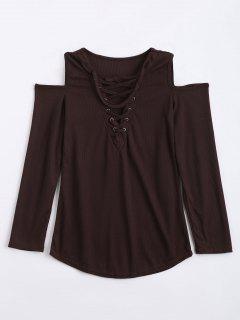 De Hombro Frío Encaje Hasta Choker Knitwear - Café L