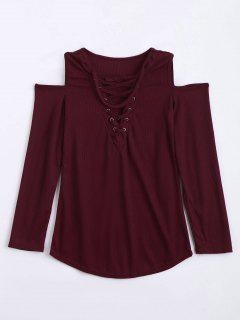 Cold Shoulder Lace Up Choker Knitwear - Wine Red L