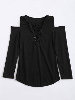 Cold Shoulder Lace Up Choker Knitwear - Black S