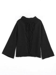 Cut Out Lace Up Turtleneck Sweater - Black