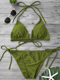 Adjustable Self Tie String Bikini Set - Green L